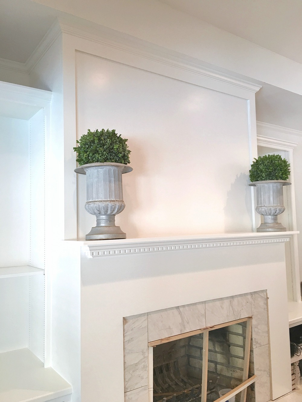 Enclosing brick fireplace with MDF