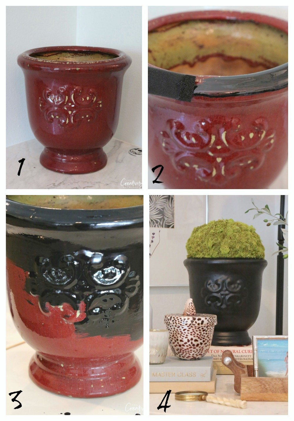 Painting glazed ceramic pots with Testors enamels.