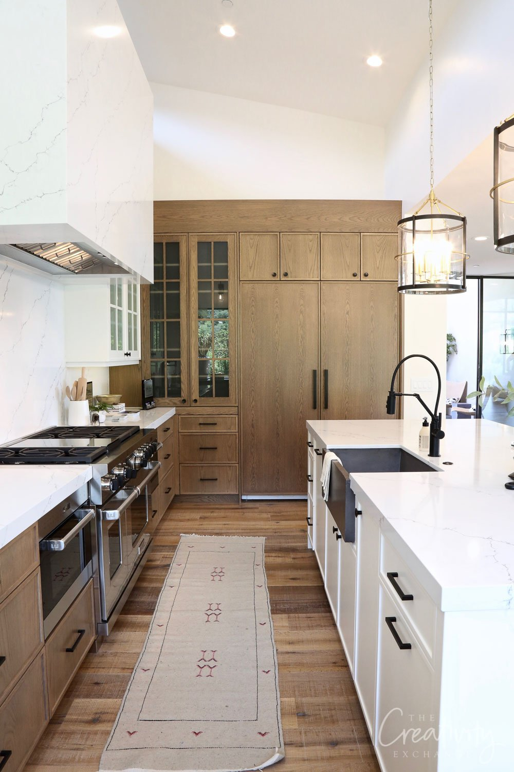 Kitchen with oak cabinetry