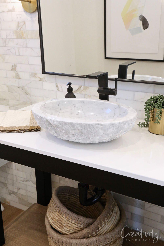 Stone round bathroom sink