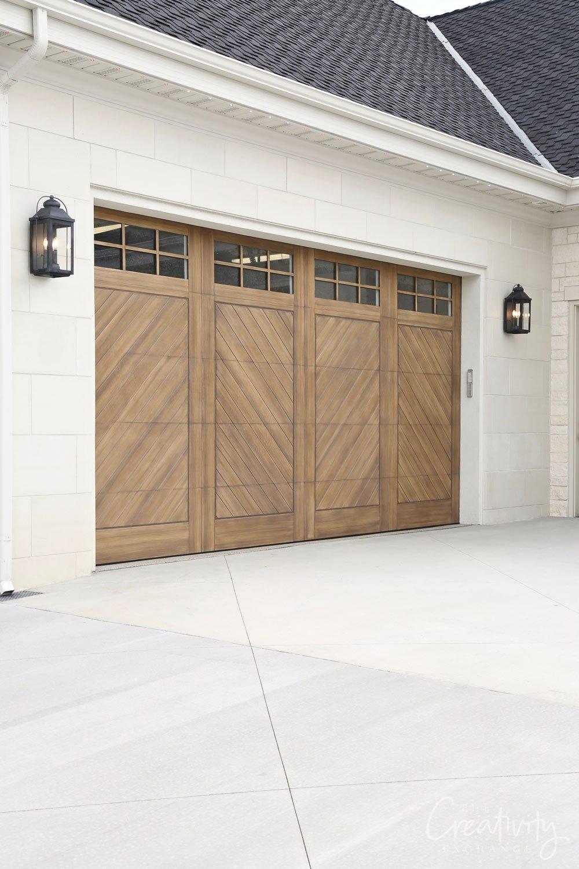 Wood herringbone patterned garage doors