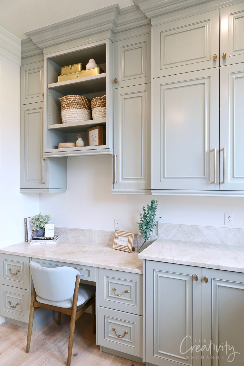 Cabinetry paint color is Farrow and Ball Light Blue