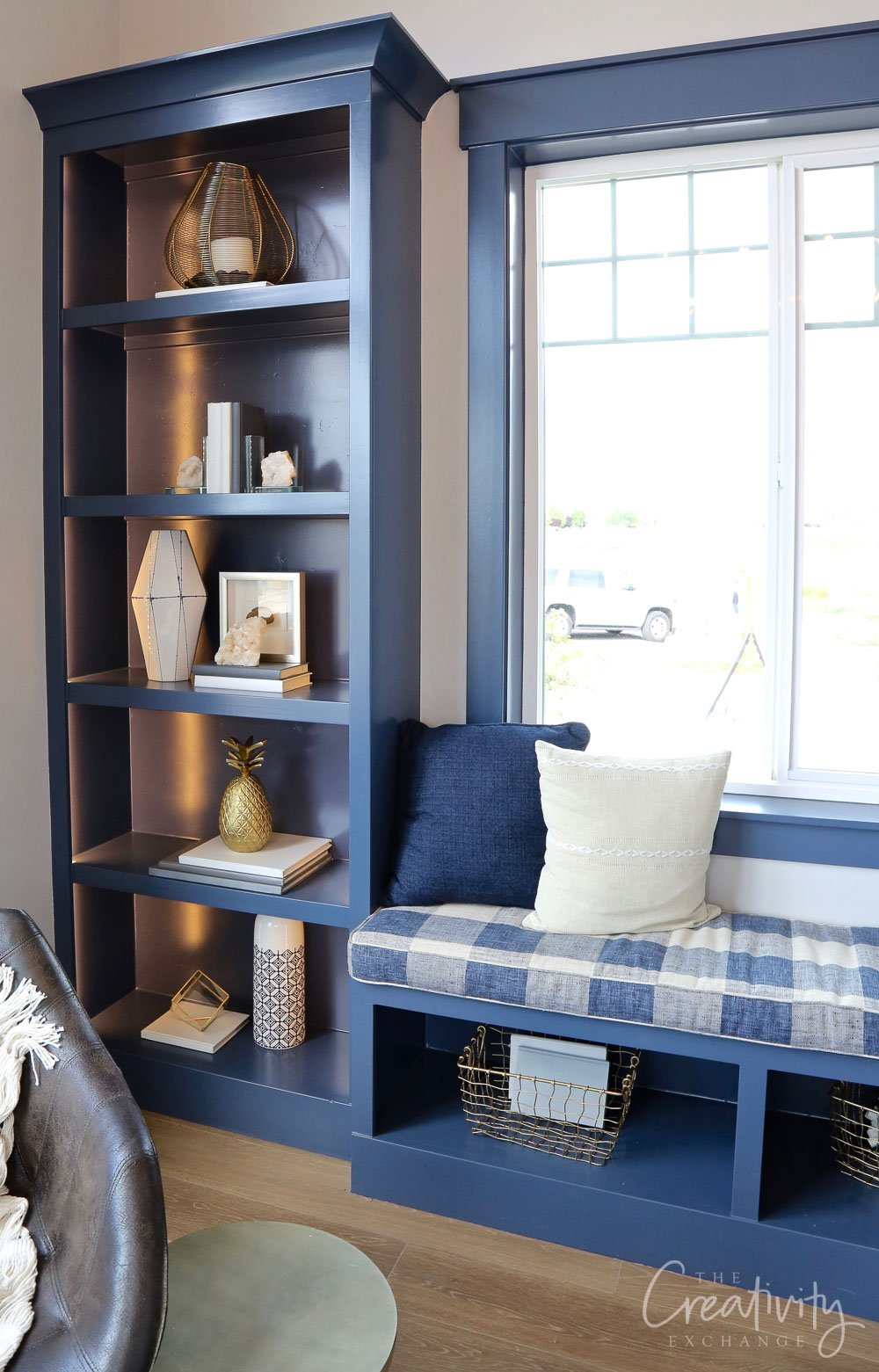 Blue built-in cabinetry