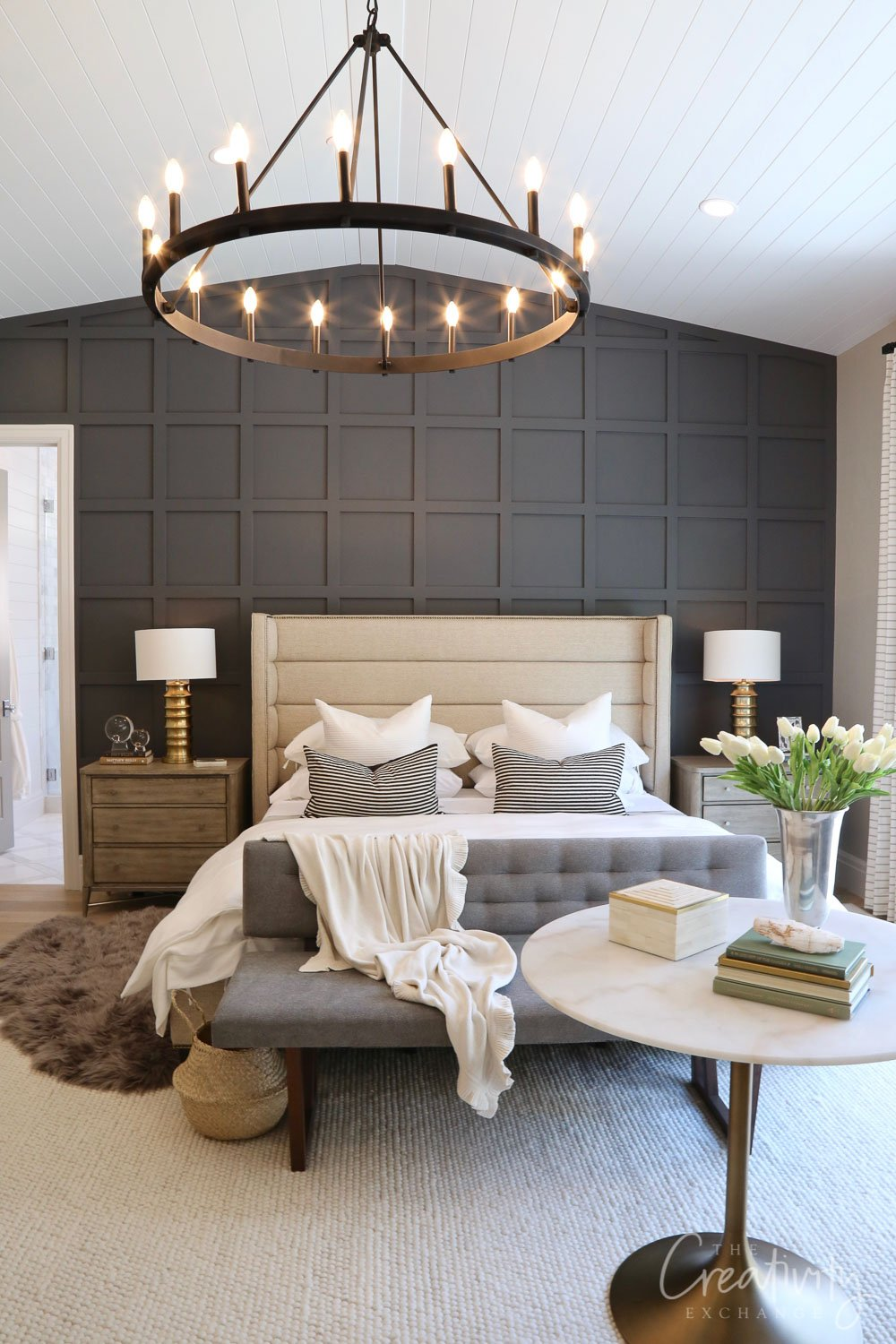 Farmhouse Bedroom Grey Headboard