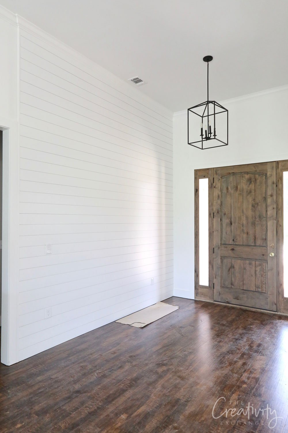 Shiplap entryway focal wall.