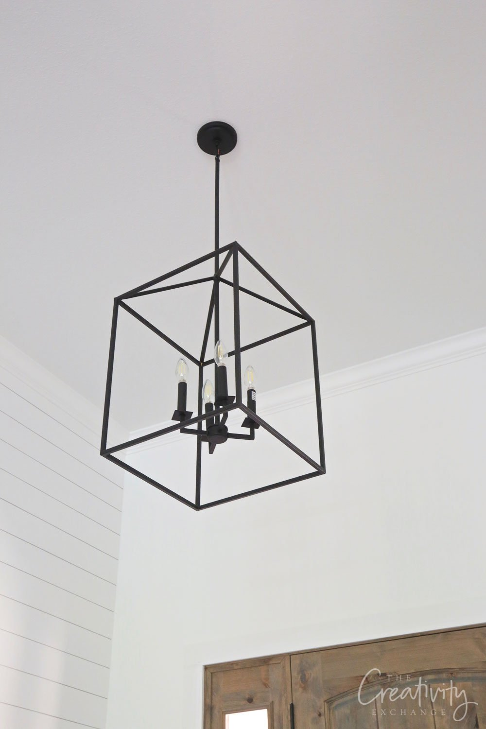 Black iron foyer light