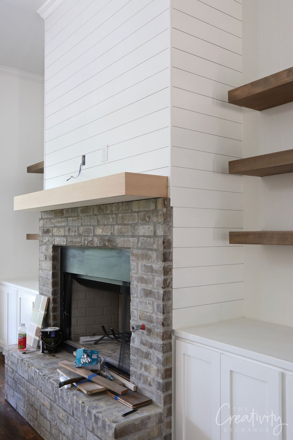 Shiplapped fireplace