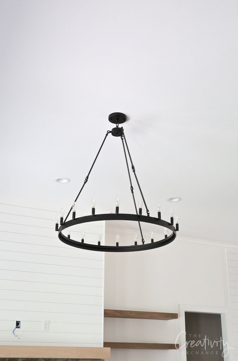 Black iron round chandelier