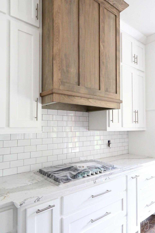 Modern natural wood vent hood.