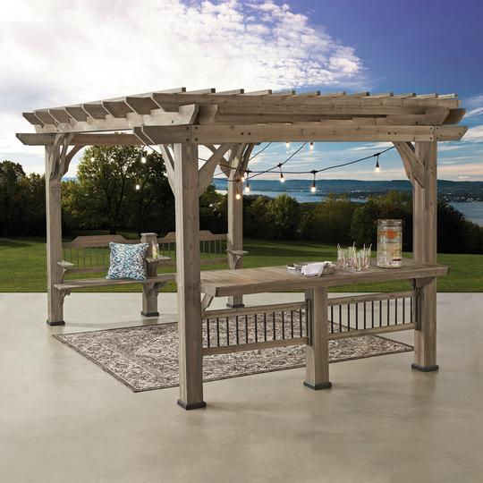 Outdoor pergola with electrical outlets, bar and bench
