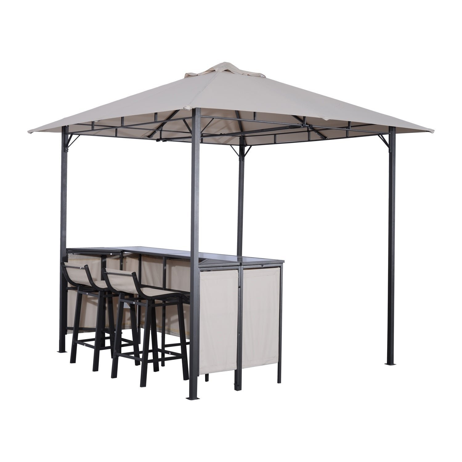 Outdoor covered bar with barstools