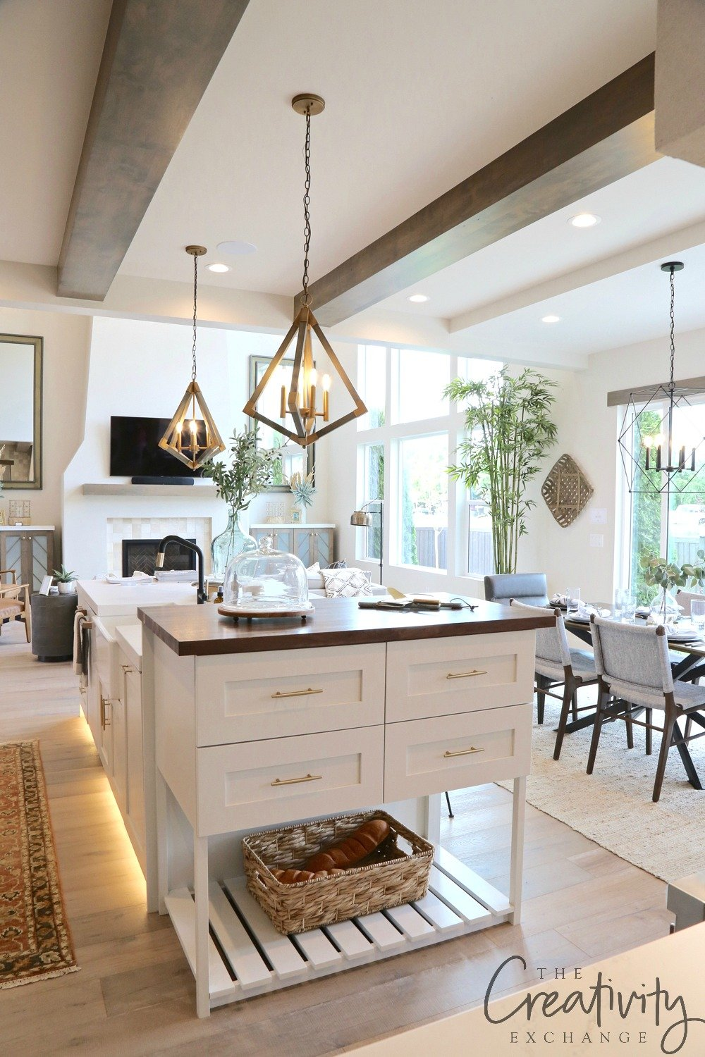 Large open kitchen with wood beams