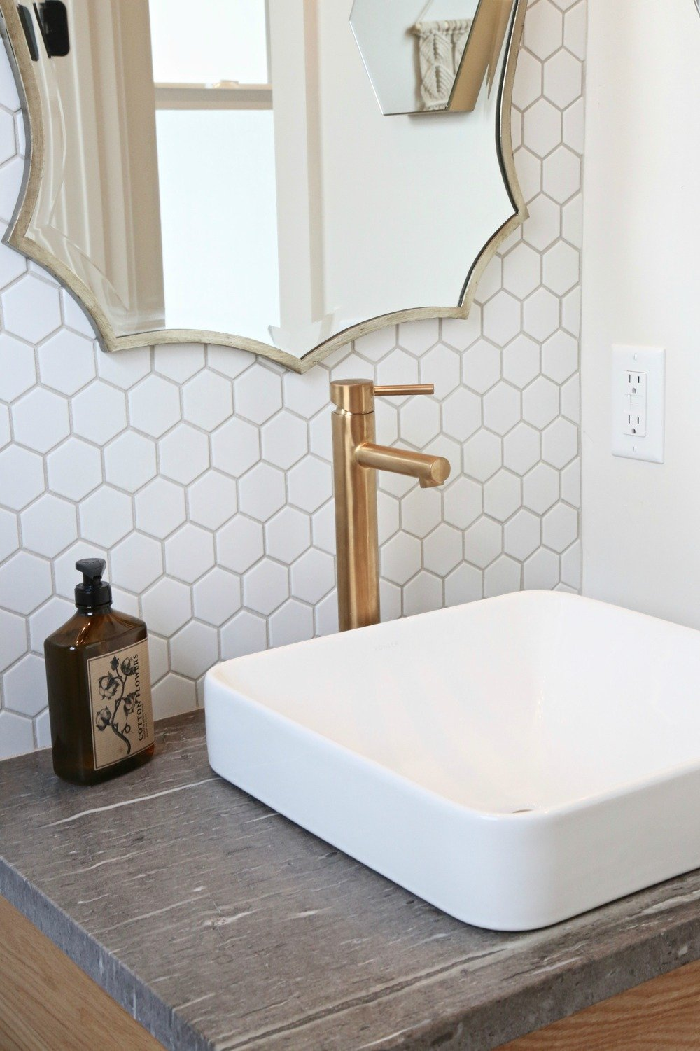 Small powder room with octagon tile