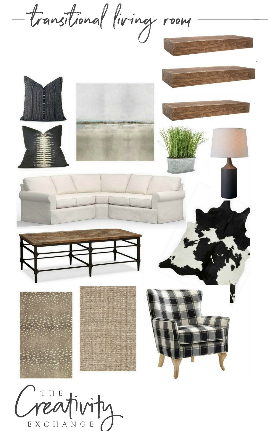 Transitional living room design mood board