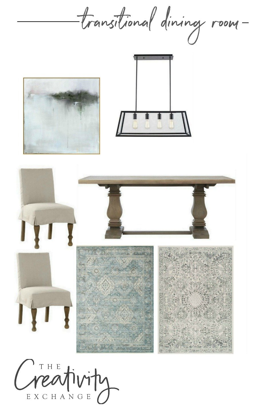 Transitional dining room design mood board