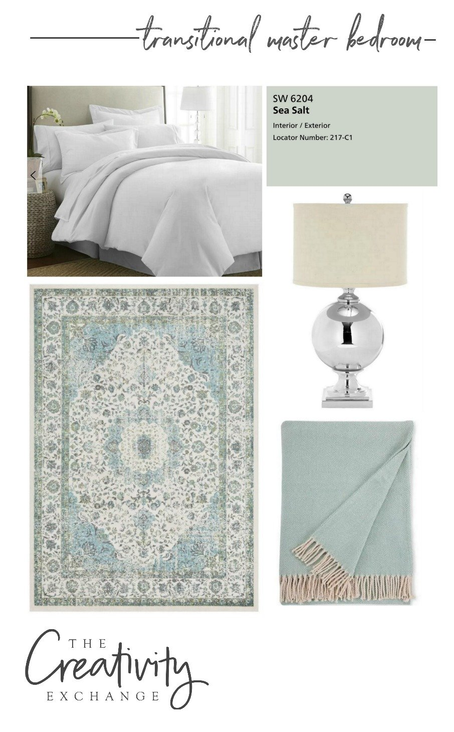 Transitional Master Bedroom Design Mood Board