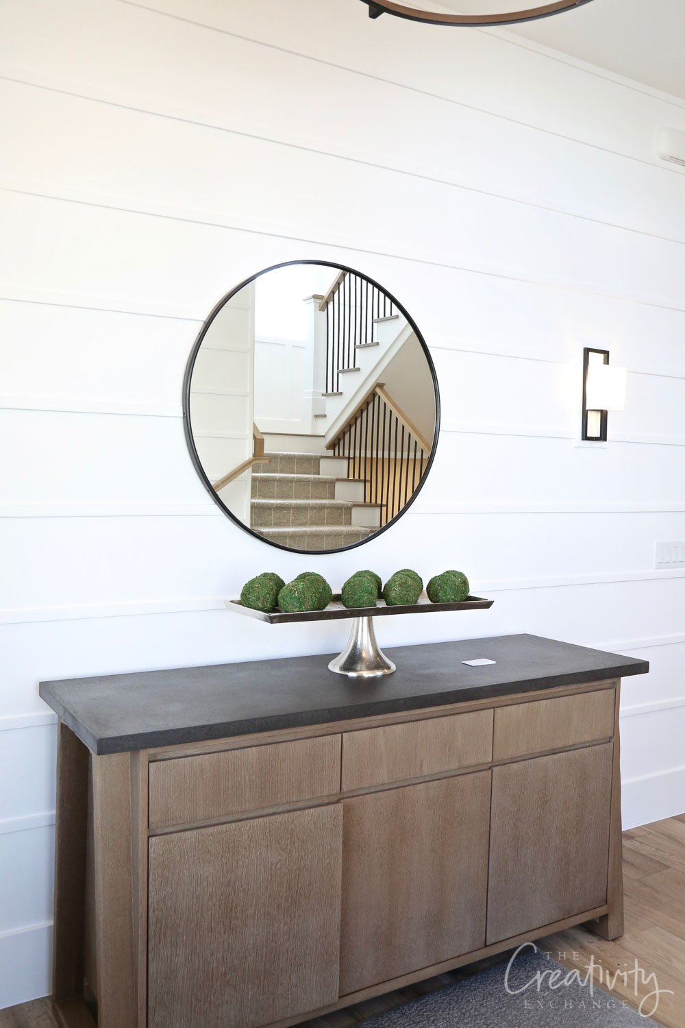 Reverse shiplap accent wall