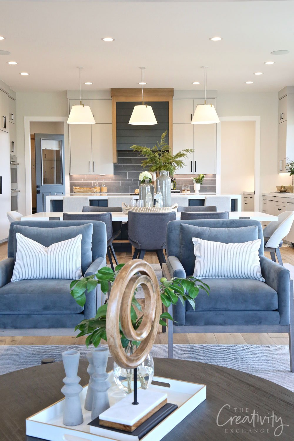 Modern farmhouse living room and kitchen