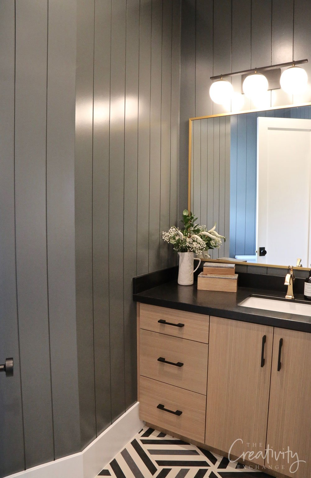 Powder room painted with Sherwin Williams Grays Harbor