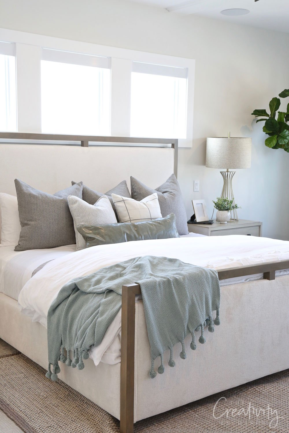 Bedroom wall color is Sherwin Williams Drift of Mist