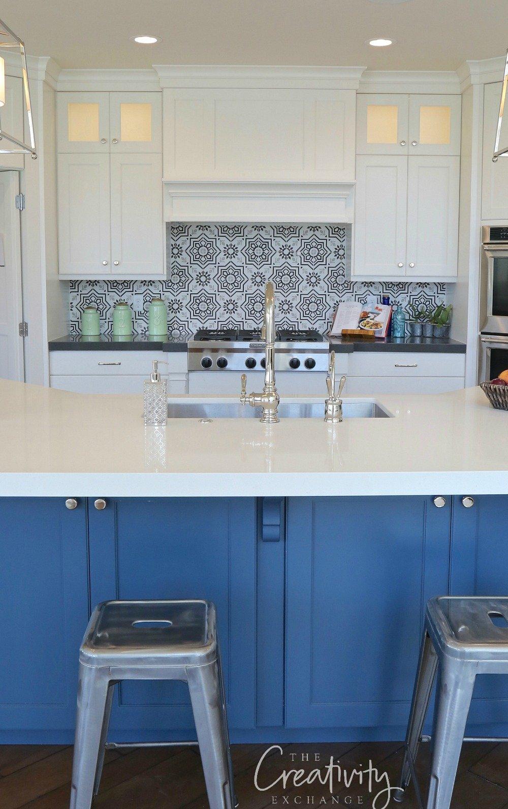 Blue painted kitchen island