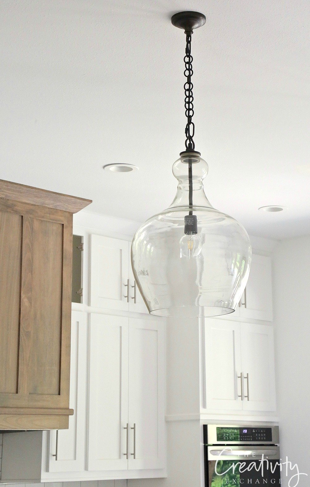 Oversized clear glass pendant light