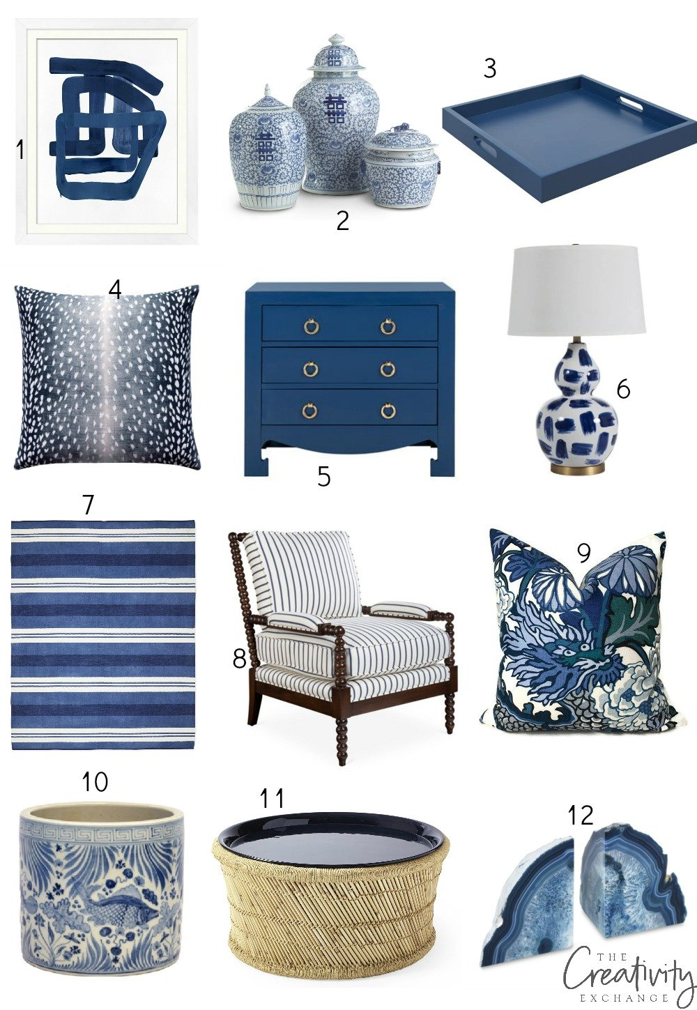 Shades of blue accessories and accents
