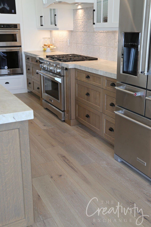 Combination oak and vinyl wide plank floors