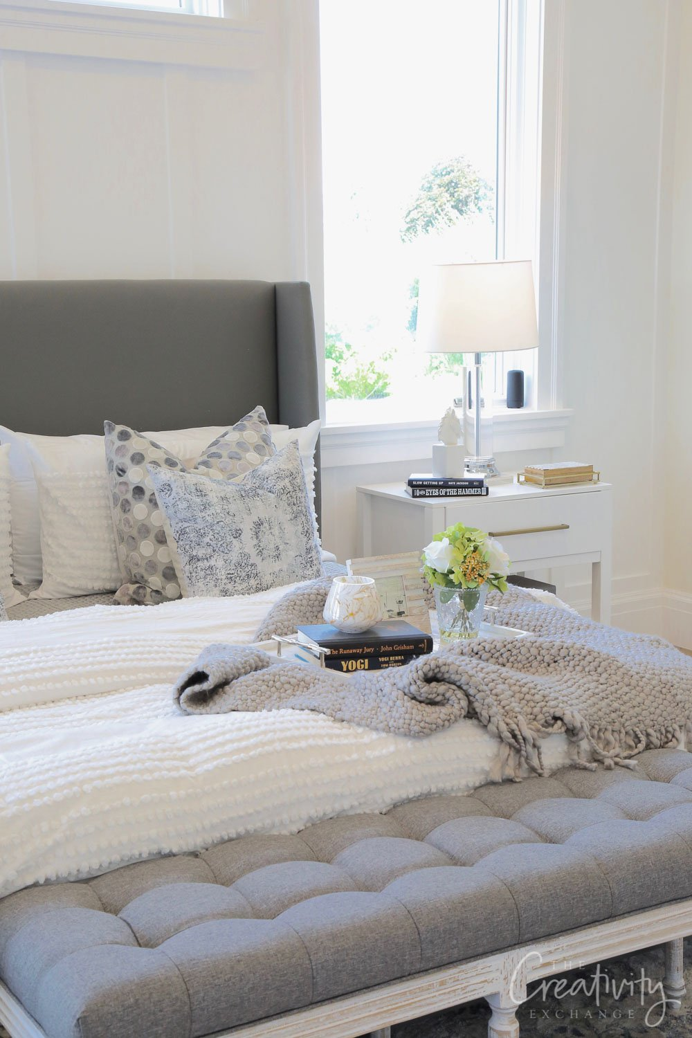 Master bedroom wall color is Benjamin Moore Simply White