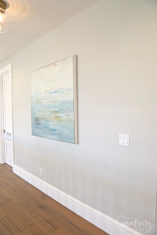 Wall color is Benjamin Moore Stonington