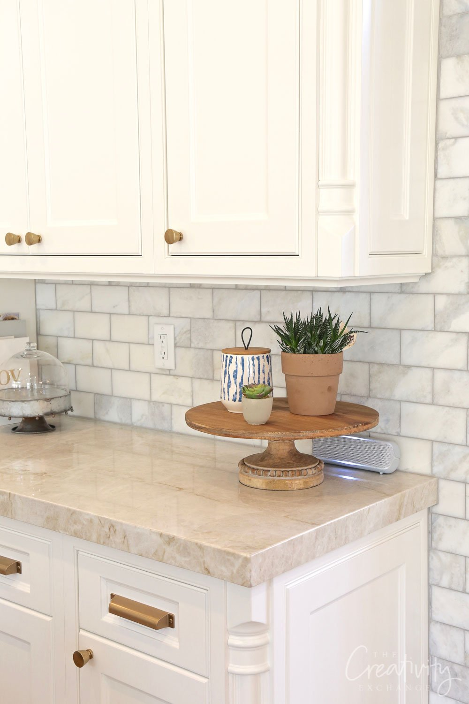 Marble subway tile kitchen backsplash