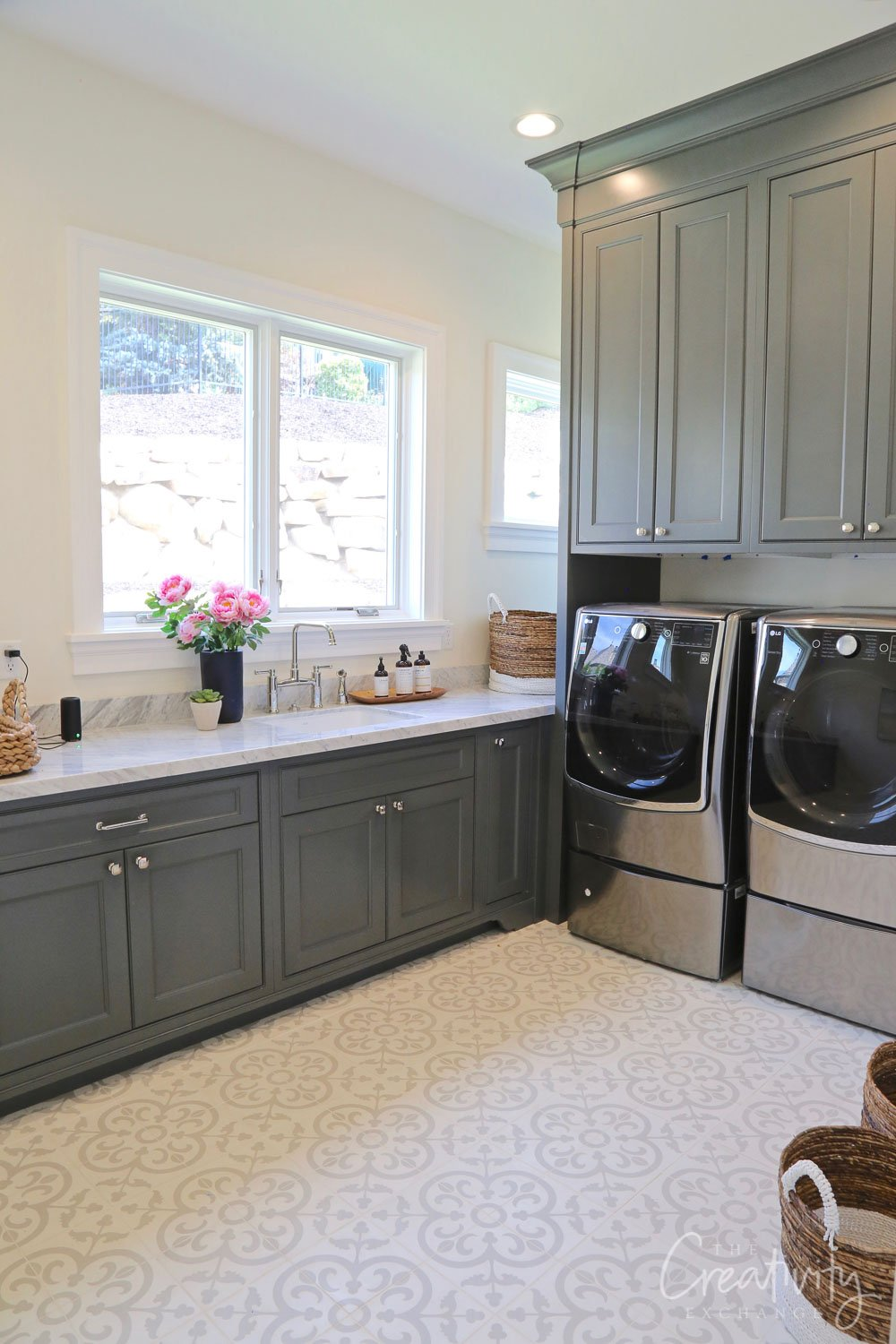Laundry room cabinet color is Farrow and Ball Downpipe