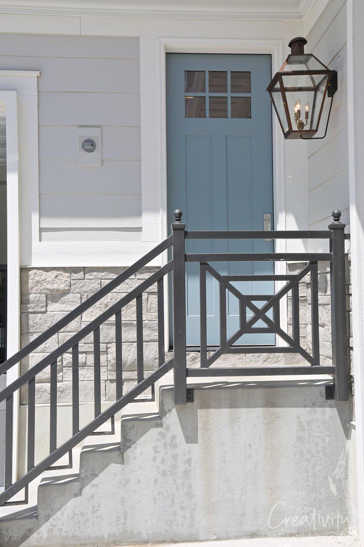Painted blue exterior side door