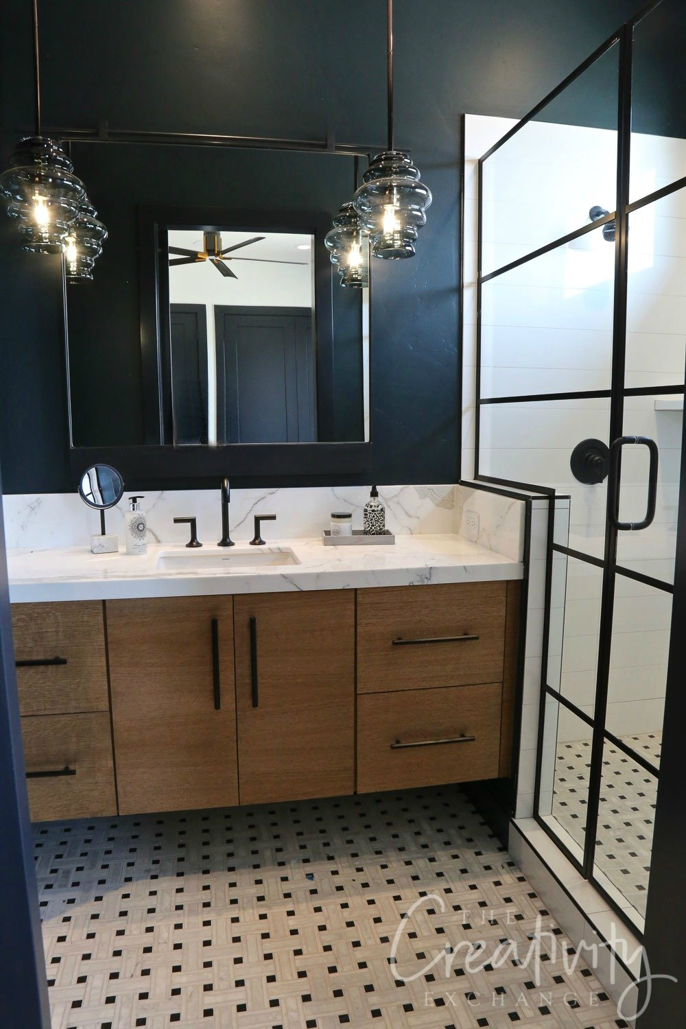 Bathroom with black accent wall