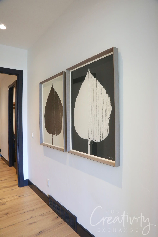 Black and white leaf prints