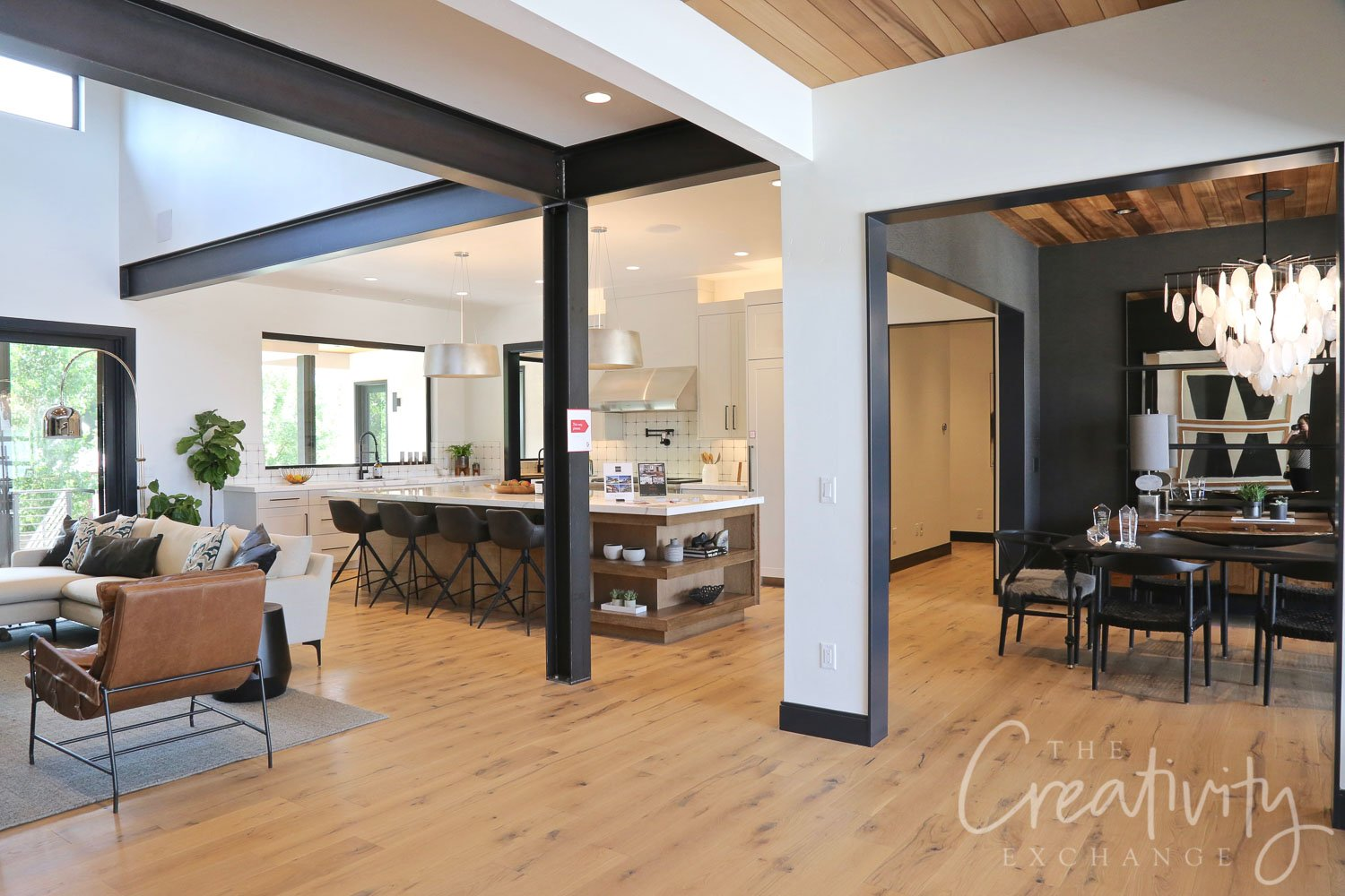 Industrial modern home with oak floors