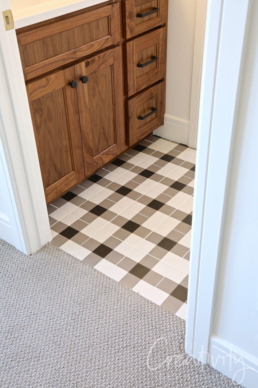 Plaid tiled bathroom floor