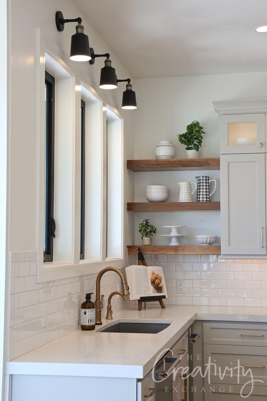 Kitchen sink corner with floating shelves