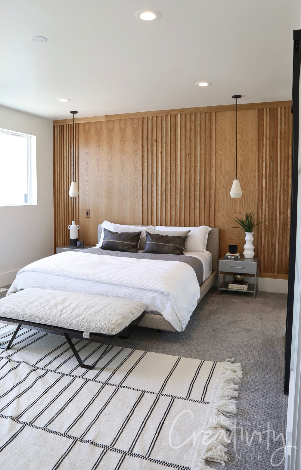 Wood bedroom accent wall