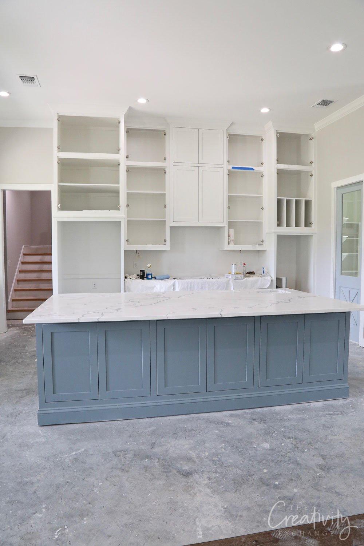 Blue gray kitchen island paint color