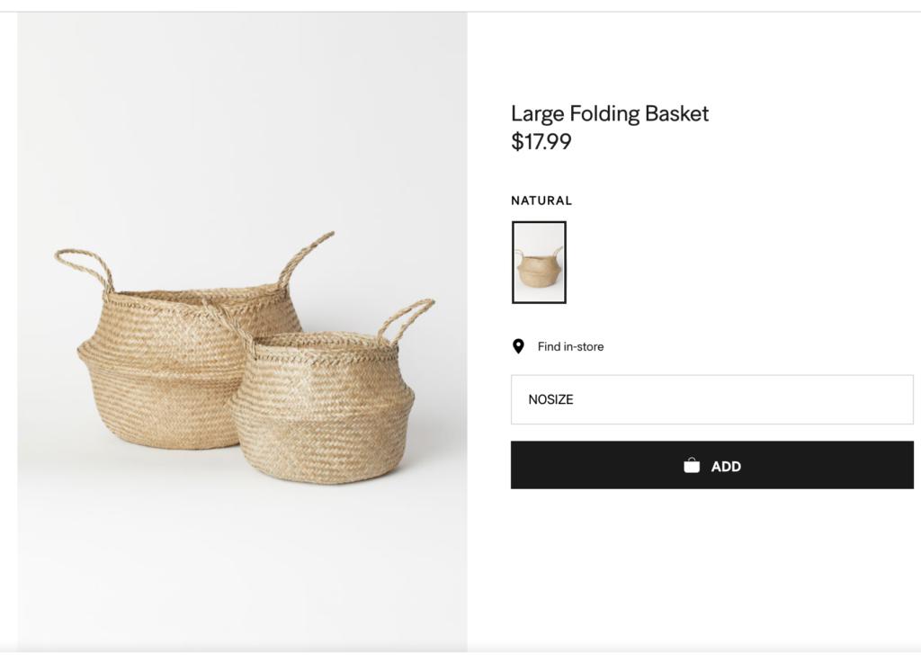 Large folding basket