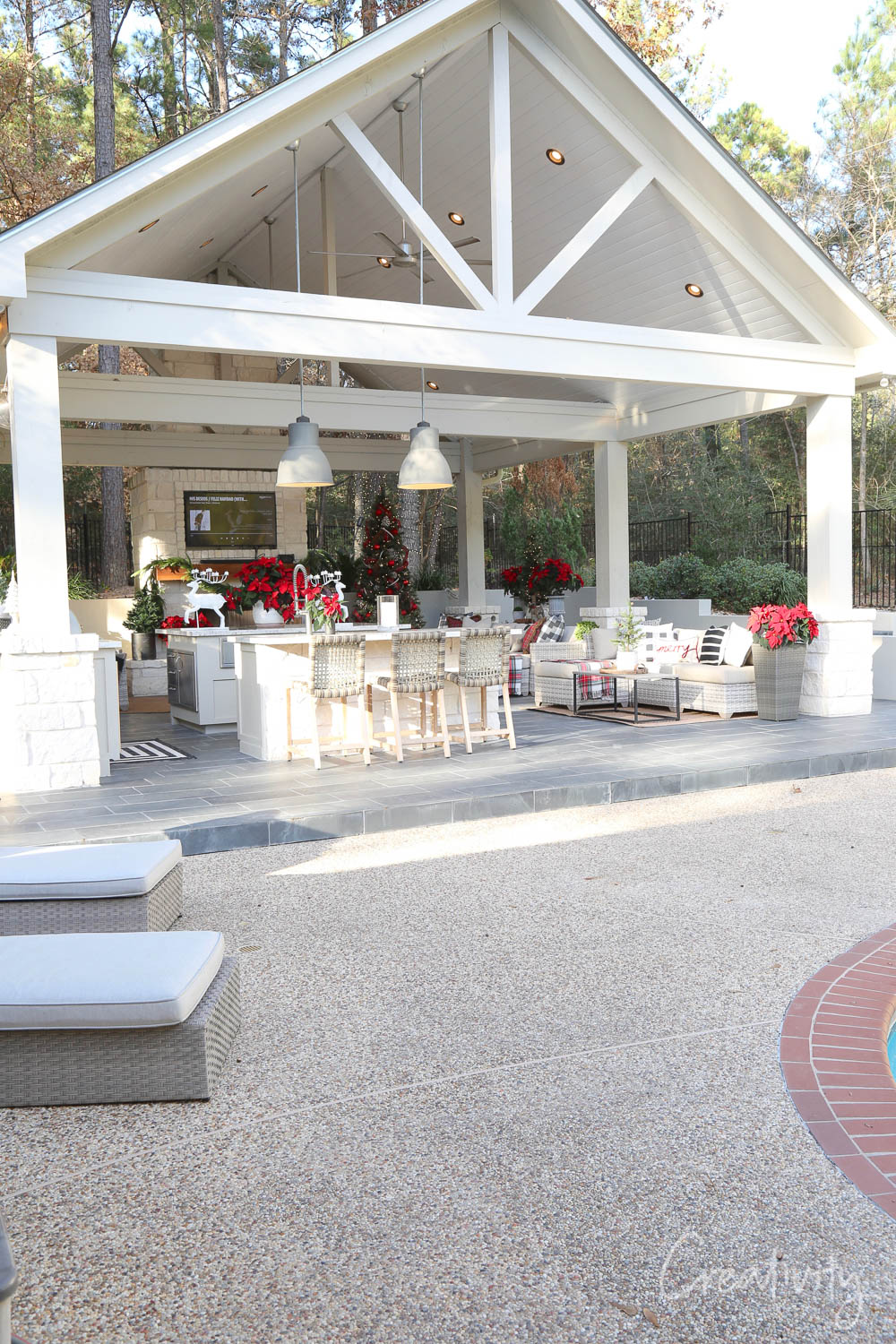 Outdoor Kitchen Decorated for Christmas