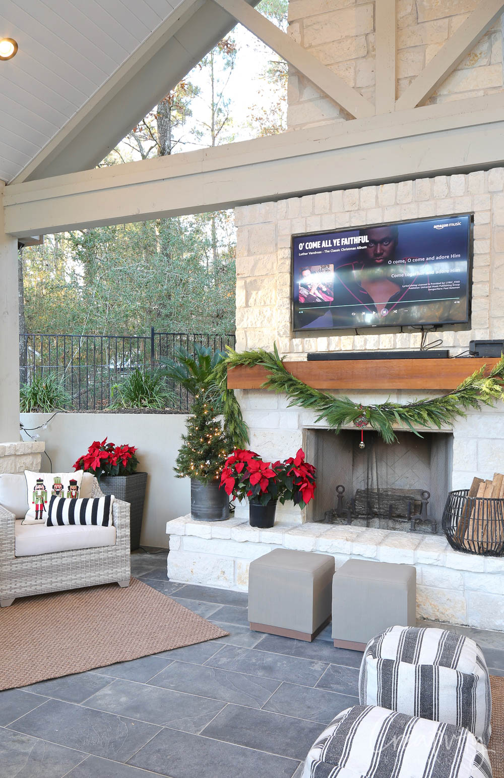 Outdoor Christmas Pool House Decor