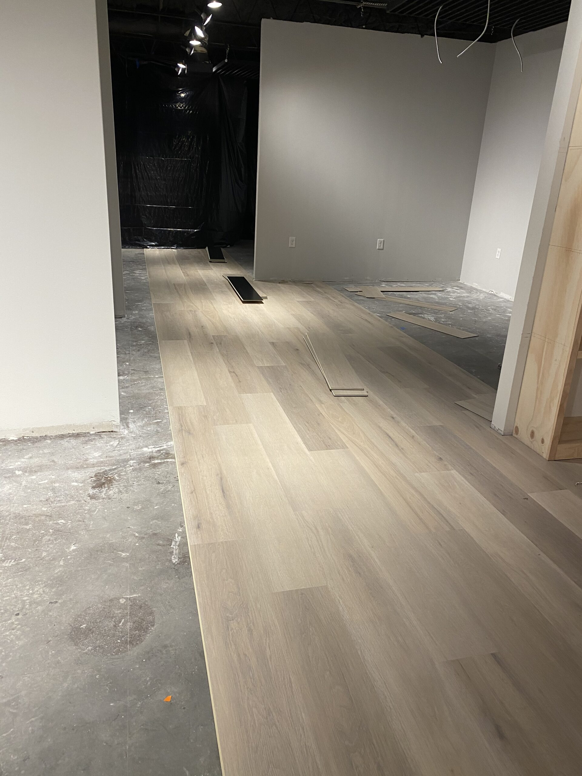 Vinyl plank light white oak flooring