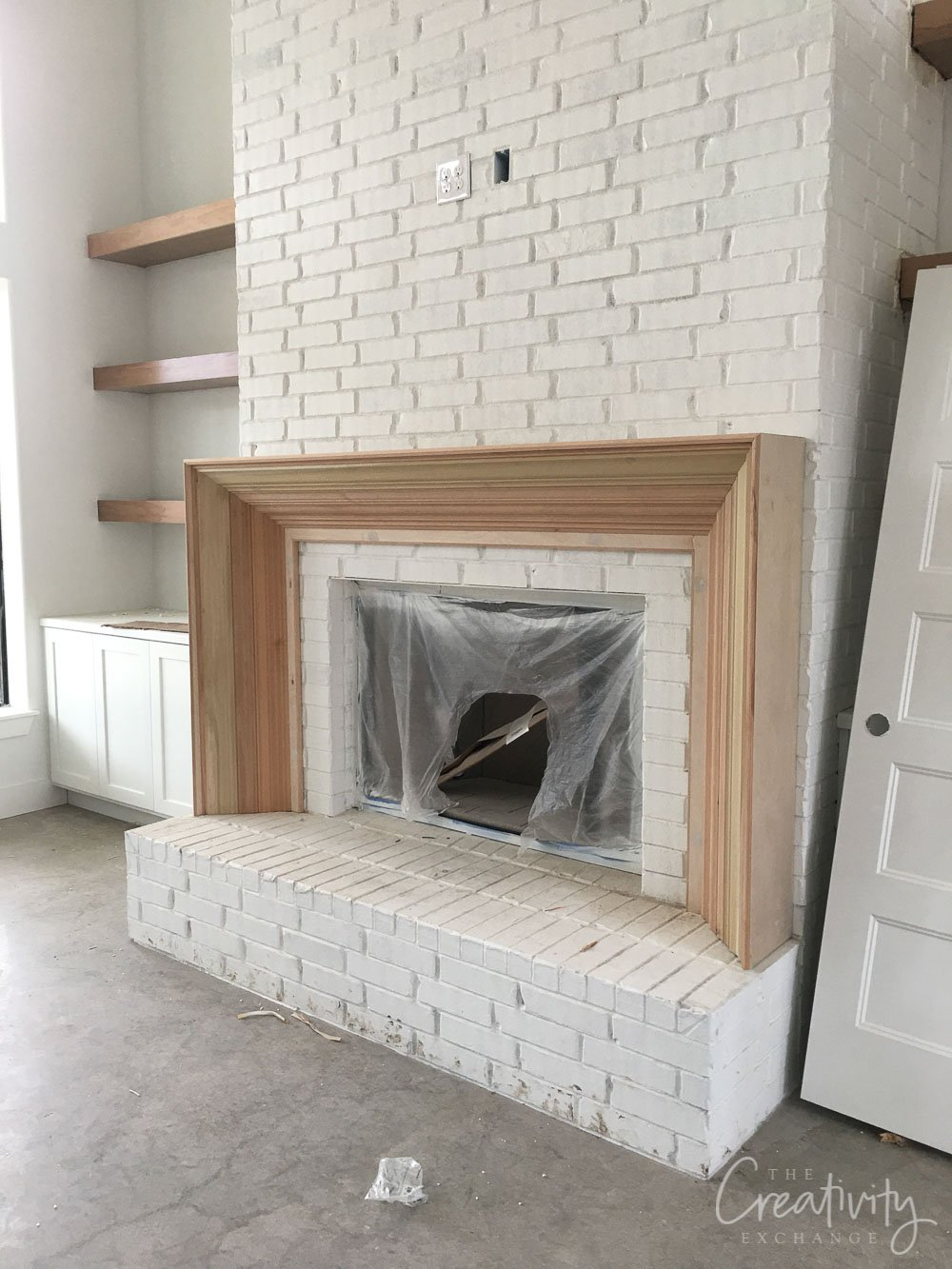 Custom wood fireplace mantle and surround