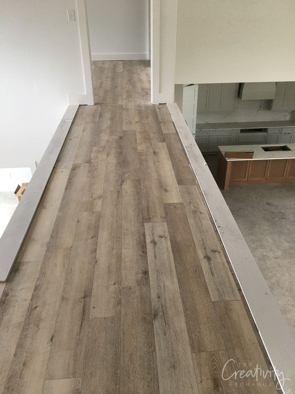 Wide white oak vinyl plank floor