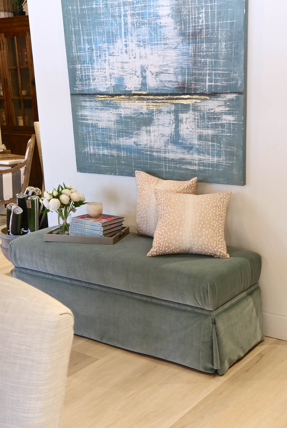 Skirted Storage Bench from Layered Home Design Center