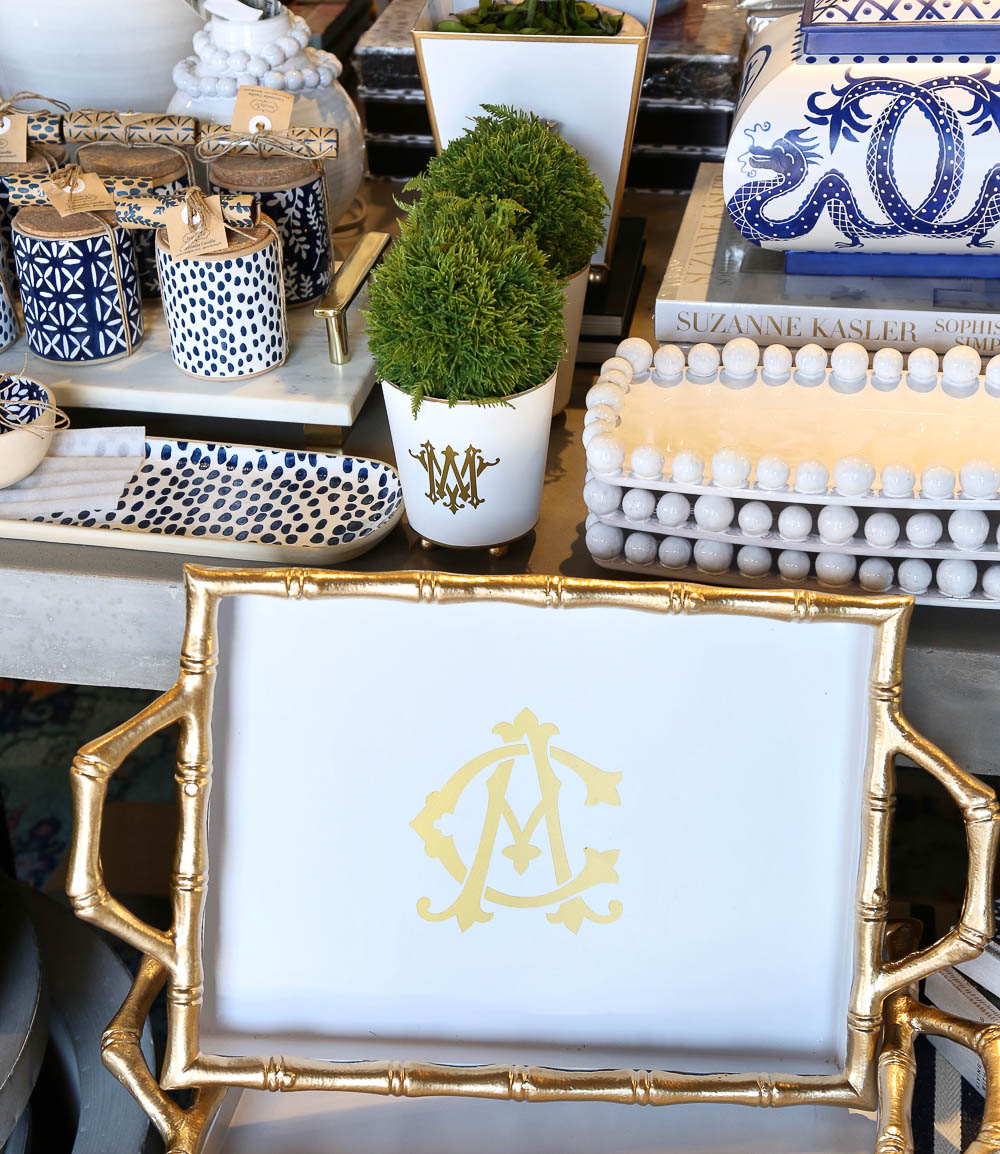 Monogrammed styling pieces from Layered Home
