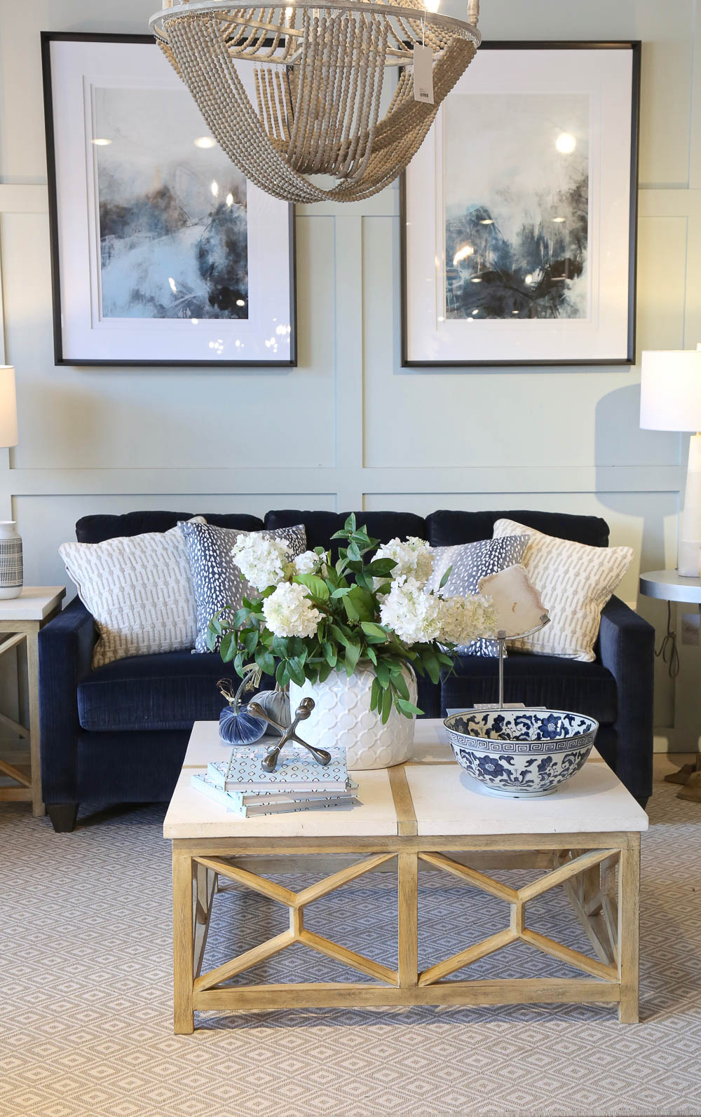 Blue living room styled Layered Home