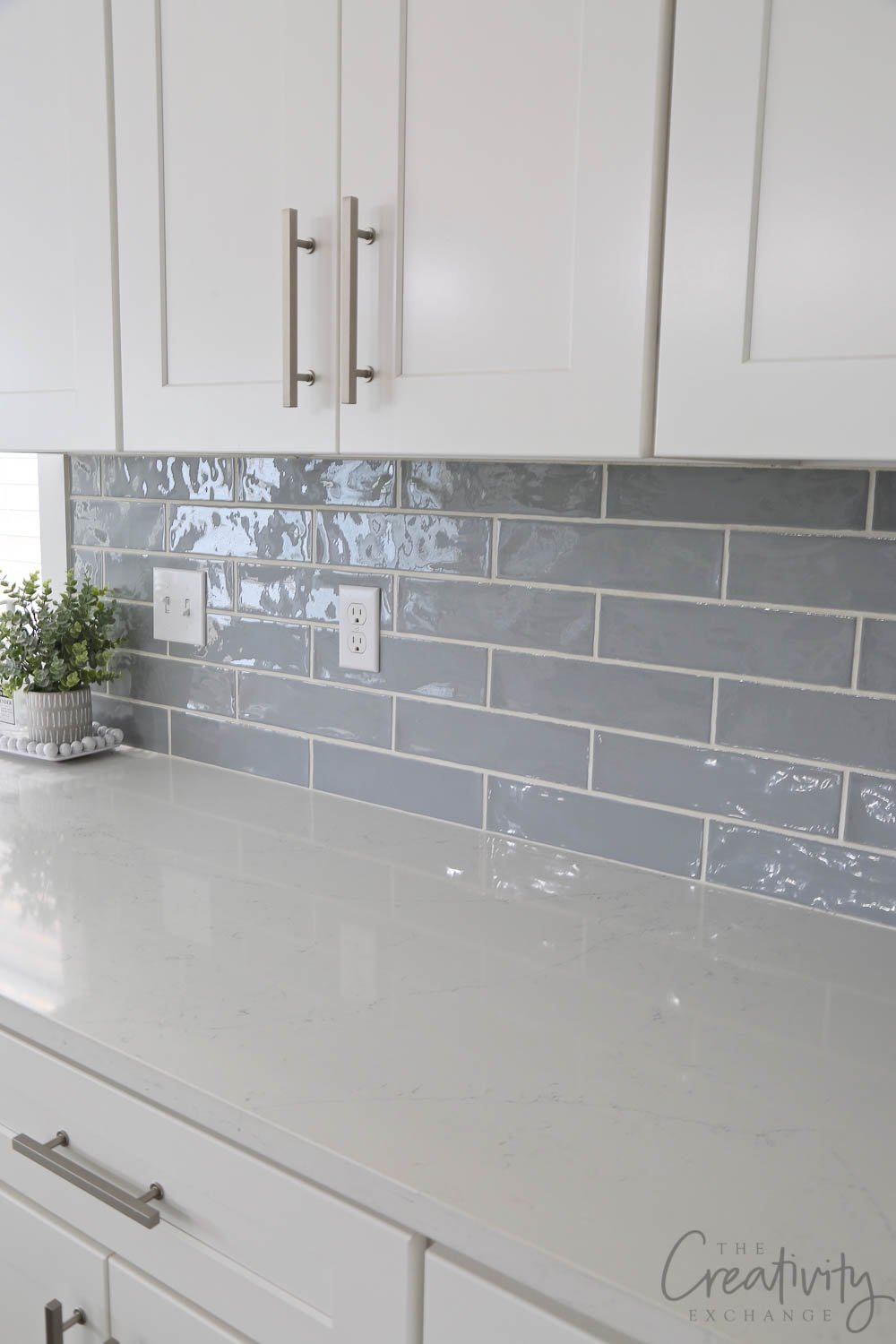 Beautiful blue gray kitchen subway tile